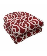 Set of 2 Moroccan Mosaic Red Outdoor Wicker Patio Furniture Chair Cushio... - €69,07 EUR