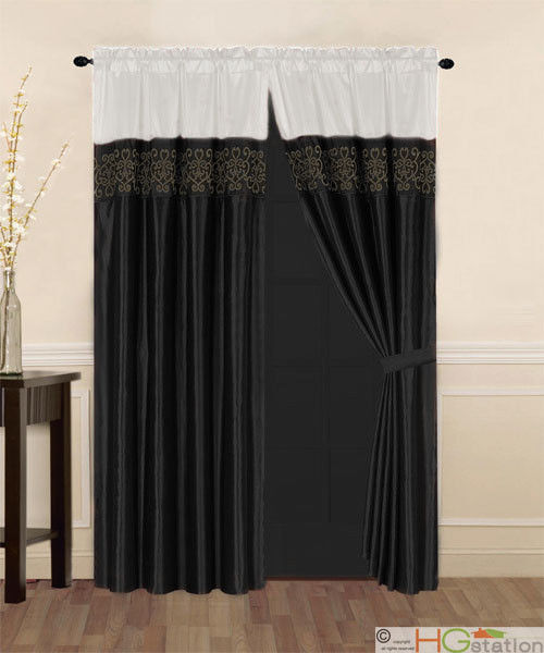 Primary image for 4-Pcs Satin Flocking Royal Floral Window Curtain Set Ivory Black Drapes Valance