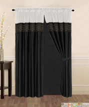 4-Pcs Satin Flocking Royal Floral Window Curtain Set Ivory Black Drapes ... - $30.74