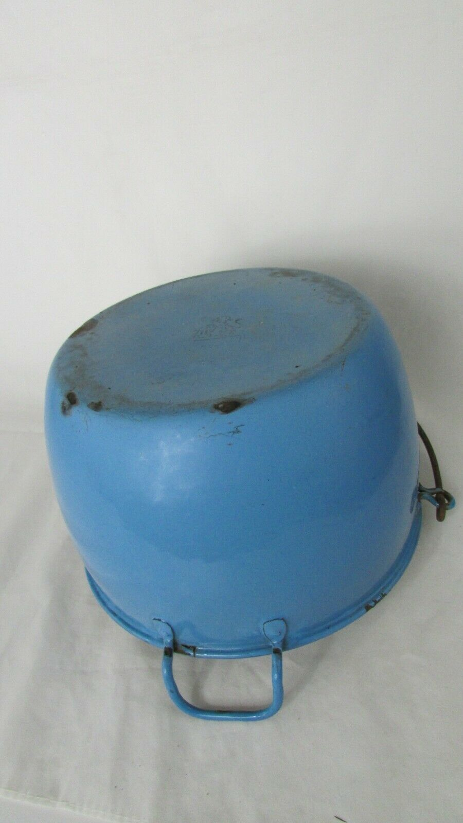 Vintage Enamel  Pail Bucket Blue and White Enamelware With Wooden Handle image 8