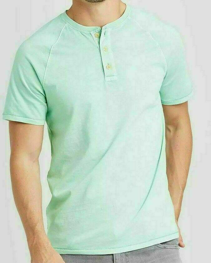Men's Goodfellow & Co Standard Fit Short Sleeve Henley T-Shirt - Ocean Spray