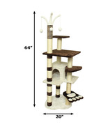 "Premium Cat Tree Tower Condo Scratch Furniture, 64"", Brown and White - $122.75"