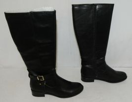 Soda HIROS Black Zip Up Riding Boot Gold Colored Accents Size Nine image 3