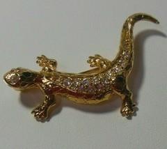 SWAROVSKI Crystal Swan Logo Gold-tone Lizard Brooch - $34.50