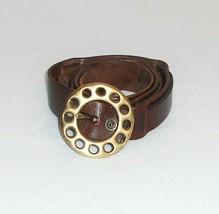"Women/'s Black Genuine Leather Womens Stretchable Belt Brasstone Buckle 30/"""