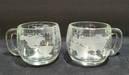 Primary image for Lot 2 Vintage 1970's Nestle Globe Glasses Clear Etched Frosted Coffee Cup Mug