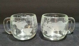 Lot 2 Vintage 1970's Nestle Globe Glasses Clear Etched Frosted Coffee Cu... - $17.73