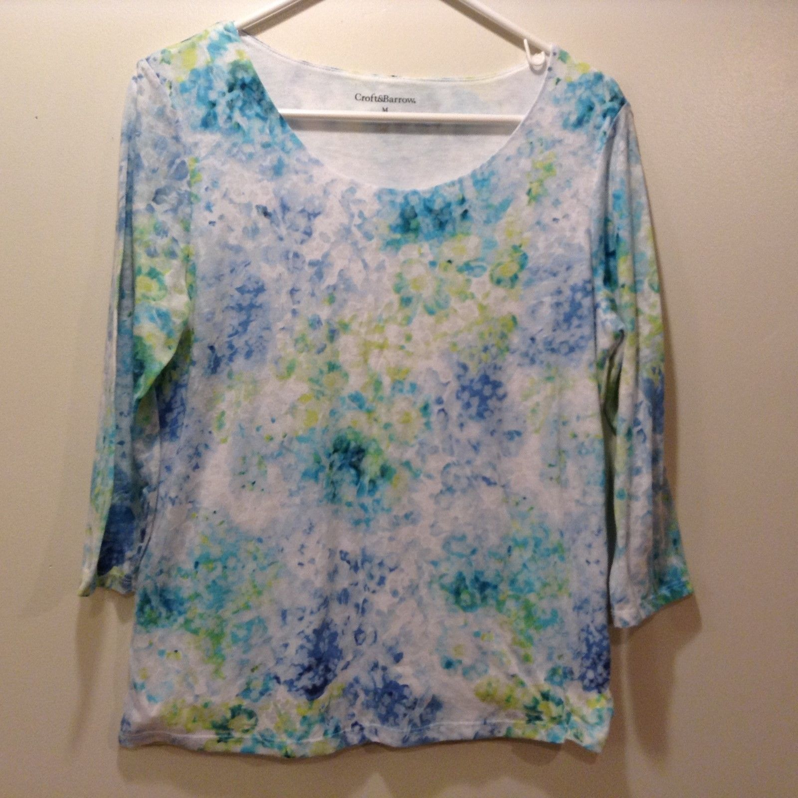 Croft & Barrow Scoop Neck Multicolor Pastel Blouse Sz M