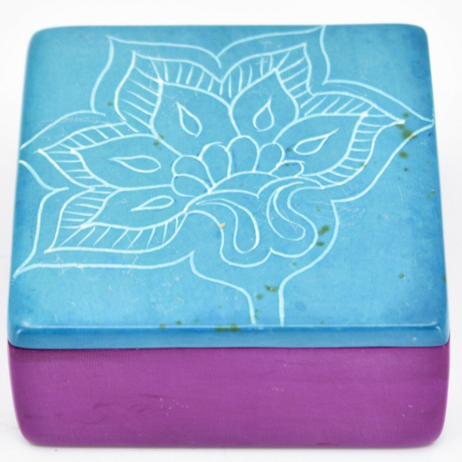 Vaneal Group Hand Carved Kisii Soapstone Blue Fuchsia Floral Flower Trinket Box