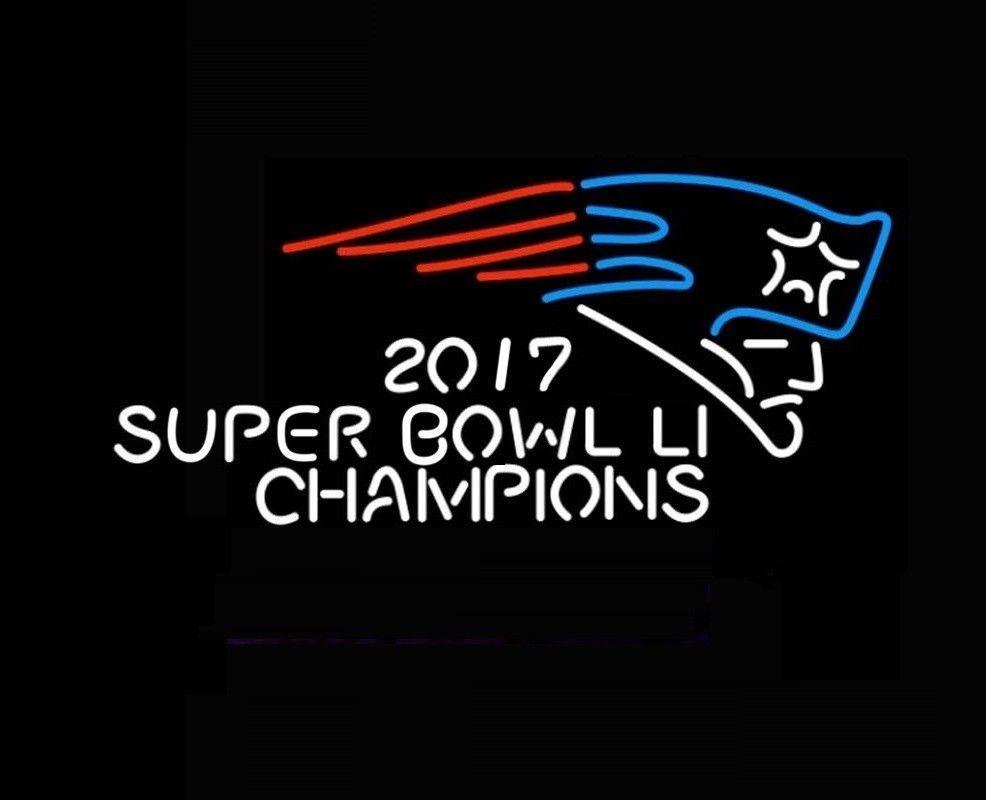 "New England Patriots 2017 Super Bowl Champions Beer Bar Neon Sign 24""x20"""