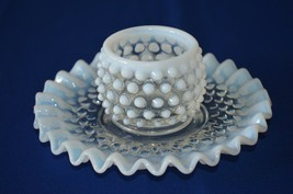 Fenton French Opalescent Hobnail Mustard & Under Plate No Lid or Spoon #389 - $19.80
