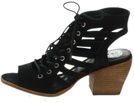 Vince Camuto Nubuck Lace-Up Heeled Sandals-Chesten Black 9.5W NEW A347375 - $36.61