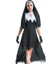 Adult Black Hooded Nun Long Costume Dress image 1