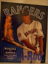 2001 TEXAS RANGERS OFFICIAL PROGRAM FEATURNG A-ROD BURNING BAT GUC - $20.96