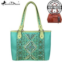 new Montana West Aztec Collection Concealed Carry Tote Handbag Turquoise/Lime - $59.99