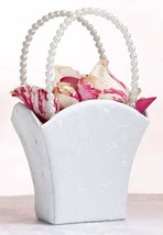 White Embroidered Pearl Handle Wedding Flower Girl Basket Ceremony Aisle... - $11.98