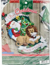 Bucilla Felt Stocking Kit, Peace on Earth, 18in embroidery, XMAS, Christmas - $26.99