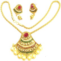 Indian Gold Plated maroon Green Girls Jewellary Gorgeous Necklace Earrin... - $11.87