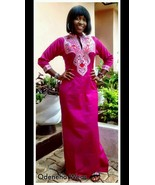 Odeneho Wear Ladies Pink Polished Cotton Long Dress/Embroidery.African C... - $89.99