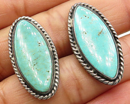 925 Sterling Silver - Vintage Oval Green Turquoise Cuff Links - T1213 - $67.47