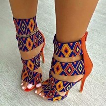 Women High Heel Sandals Sexy Print Orange Summer 8cm Stiletto Heel