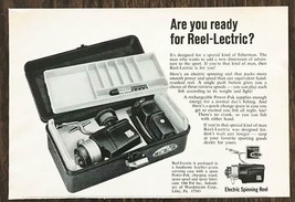1967 Reel-Lectric Electric Spinning Reel Print Ad Fisherman Fishing Tack... - $7.59