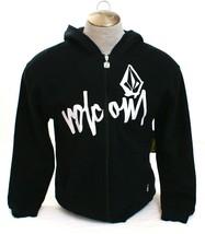 Volcom Black Zip Front Signature Hooded Sweatshirt Hoodie Youth Boy's L NWT - $69.29