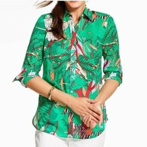Talbots Womens Top Cotton Button Front Roll Tab Jungle Animal Safari Siz... - $19.99