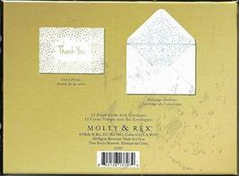 Molly & Rex Thank You Cards Gold/Blue Polka Dots 12 Count