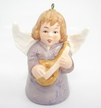 "Goebel Angel Bell Ornament 1977 Purple with Guitar Instrument 3"" Christmas Exc - $9.89"