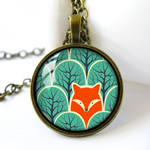 Retro Style Handmade Glass Dome Necklace, Fox in Woodland, C-296 - $8.00