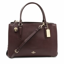 Coach Womens Pebbled Brooklyn 34 Carryall Oxblood Leather Bag 5726 - $251.10
