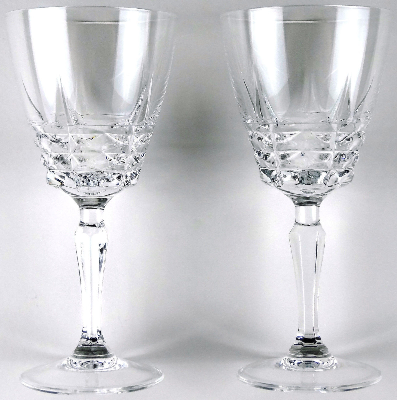 2 French Lead Crystal Goblets No. 1 W M Dalton Cherbourg Made in France
