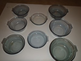 Set of 8 Vintage Pyrex Blue Glass Flame Ware Skillets Fry Pans - $93.49