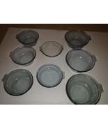 Set of 8 Vintage Pyrex Blue Glass Flame Ware Skillets Fry Pans - $93.49