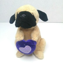 Plush Pug Dog Puppy Holding Purple Heart Stuffed Animal Valentine Love G... - $8.86