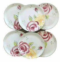 6- Royal Albert ROSE GARDEN Hand Painted Earthenware Portugal Salad Plates 2000 - $39.59