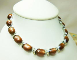 "Vintage Signed Coro Brown Moonglow Thermoset Choker Necklace 13.5"" to 16.5"" - $14.20"