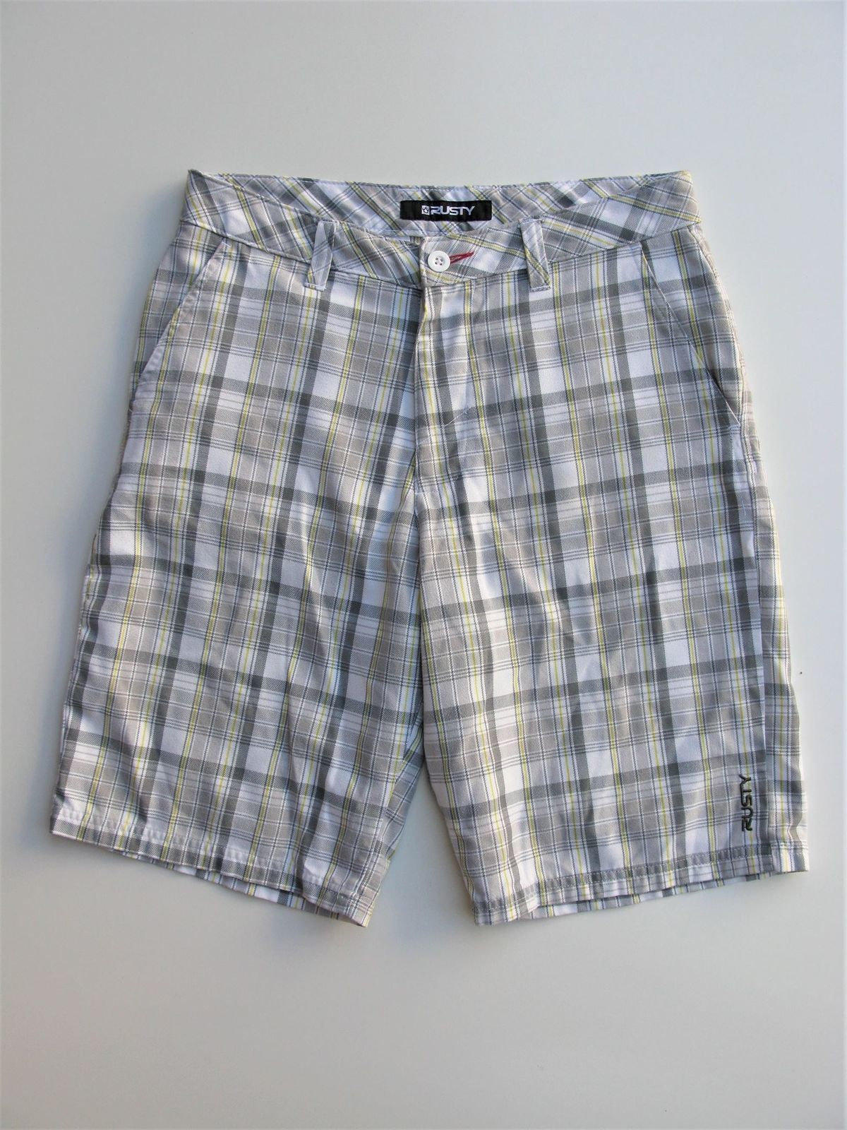 Rusty Bermuda Skater Shorts Grey with Yellow Plaid  32 $56