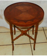 Mahogany Walnut Inlaid Top Round Parlor Table - $299.00