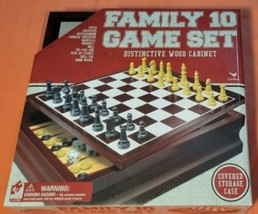Family 10 Game Set in Wood Cabinet Chess Checkers Backgammon + More - $13.98