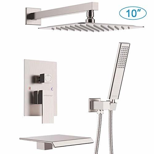 EMBATHER Shower System with Waterfall Tub Spout 10 Inches ...