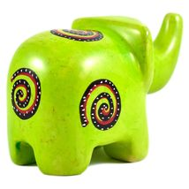 SMOLArt Hand Carved Soapstone Lime Green Elephant Figurine Made in Kenya image 3