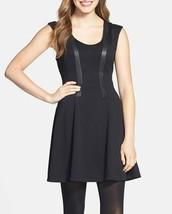 Jessica Simpson Dress Sz 4 Black Faux Leather Ponte Fit & Flare Career Cocktail - $63.82