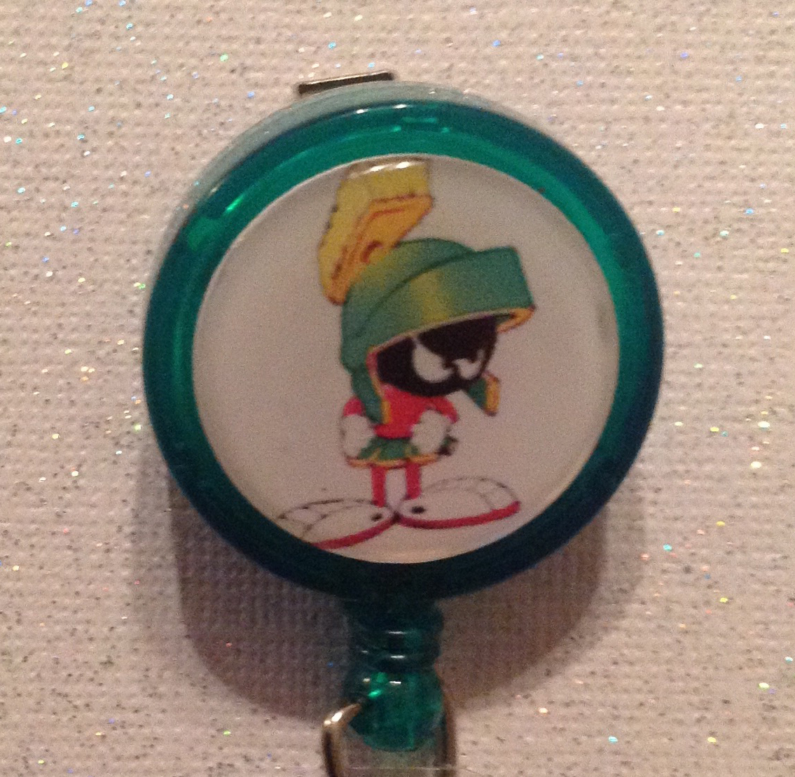 Primary image for Marvin the Martian Badge Reel Id Holder Handmade alligator clip Green new