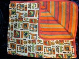 VTG Gymboree 90's Aztec Southwest Orange Turquoise Stripe Baby Blanket Mosaic - $69.29