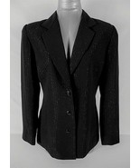 ANNA CAROLE womens Sz 8 L/S black silver THREADS button down LINED jacke... - $56.88