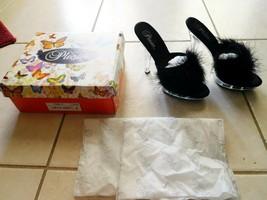 Shoes PLEASER LIP101-8 Womens Black Marabou Feather Mules Clear Heel Sz ... - $58.99