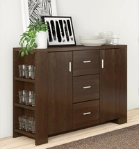 Kitchen Buffet Brown Wood Sideboard Storage Cabinet Console Table Dining... - $352.64