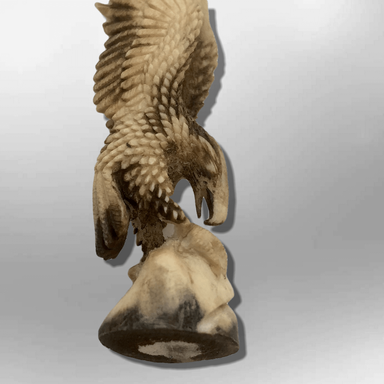Bone Carved Handmade Full Landing Eagle Full Body No Paint Feather Detailed No W image 2